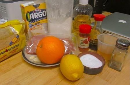Курица с апельсинами в белом вине